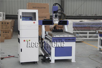 Acctek New Design Atc 4 Axis Rotary Wood Carving Cnc Router Akm6090c With Double Tool Magazine