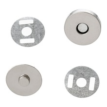 20 Sets Silver Tone Round Magnetic Purse Snap Clasps Closure Handbag 14mm Fermoir