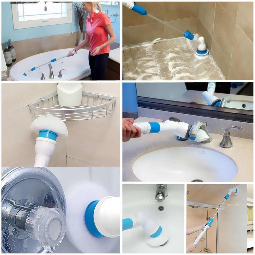الكهربائية تدور الغسيل 360 اللاسلكي قابلة للشحن الحمام الأنظف مع تمديد مقبض فرشاة التكيف لحوض بلاط أرضية الجدار