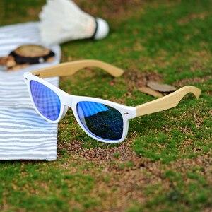 Image 4 - بوبو الطيور النساء نظارة شمسية من خشب البامبو الاستقطاب الأبيض مربع إطار خمر نظارات oculos دي سول feminino C CG007