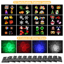 12 Pattern Outdoor waterproof led Christmas lights and water-wave Projector