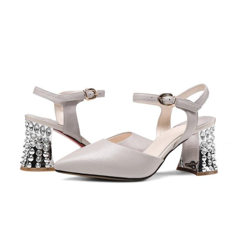 gris Tobillo Mujeres El Cuero En De Punta blanco Fiesta Zapatos Sandalias La Correa Negro Mujer Verano Las Genuino Vestido Rhinestone {zorssar} gwHpSnqw