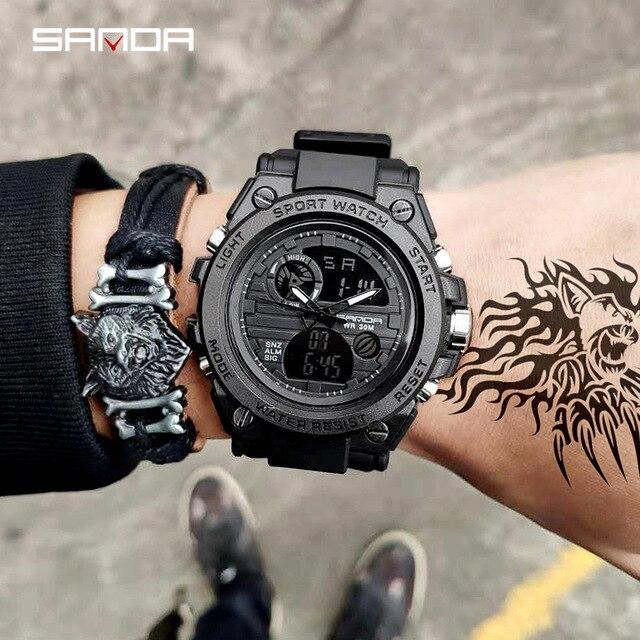 2019 New SANDA 739 Esportes dos homens Relógios Top Marca de Luxo Militar Relógio de Quartzo Dos Homens À Prova D' Água S Choque Relógio relogio masculino