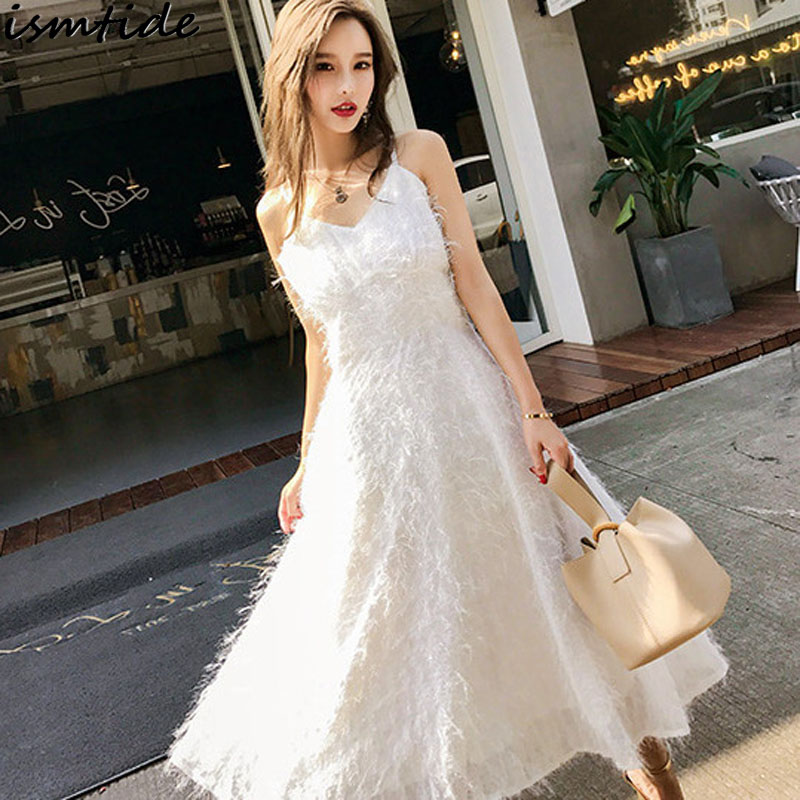 White Feather Lace Dress for Women Tassel Glitter Sequin Sparkle Long Dresses 2018 Sexy Off Shoulder Tassel Mesh Lace Maxi Dress