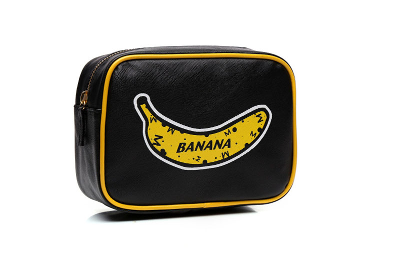 Women PU Leather Cosmetic Bags Korean Style Banana Pattern Make Up Bag neceser Travel Makeup Case