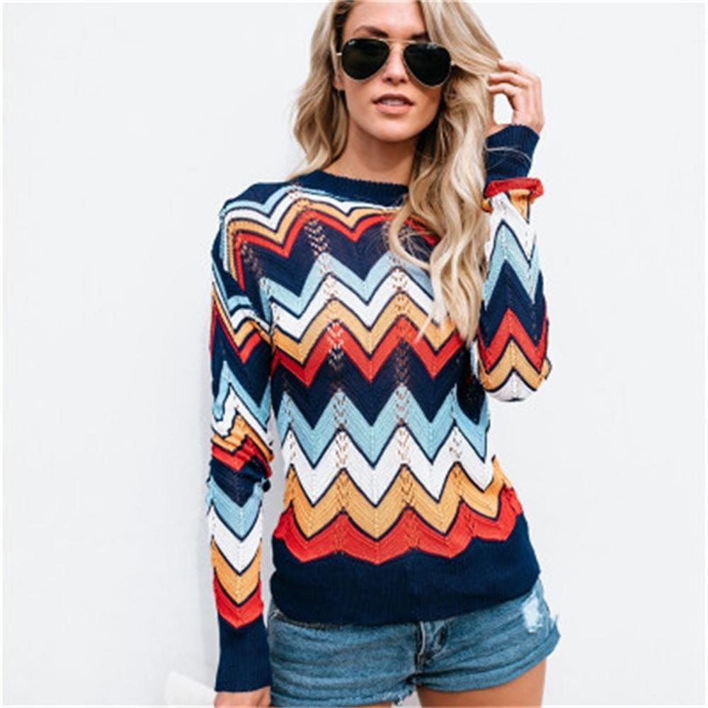 commuter sweater large size striped sweater 2018 autumn winter rainbow stripes female knitted pullovers