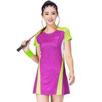 Women Sports Dress Tennis Uniform Hip Length Short Sleeve Badminton Dress With Safe Shorts Women Leisure Vestidos De Tenis 1701