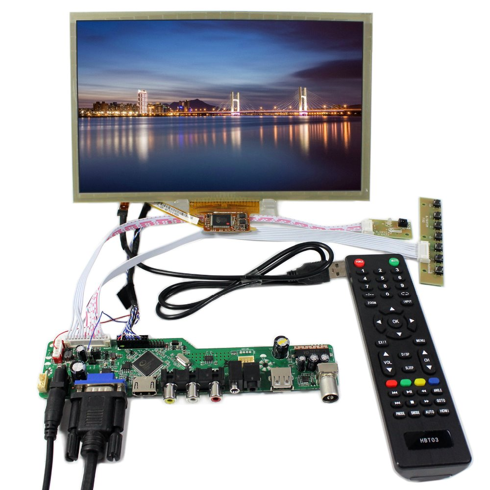 TV HDMI VGA AV USB Audio LCD Controller Board+10.2 HSD100IFW1 CLAA102NA0ACW  1024X600 LCD With Capacitive Touch tv hdmi vga av usb audio lcd controller board 10inch b101aw03 1024 600 lcd panel