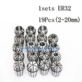19PCS/LOT ER32 SPRING COLLETS SET for 5.5kw milling spindle 2-20mm ER32 Collet For CNC Engraving Machine
