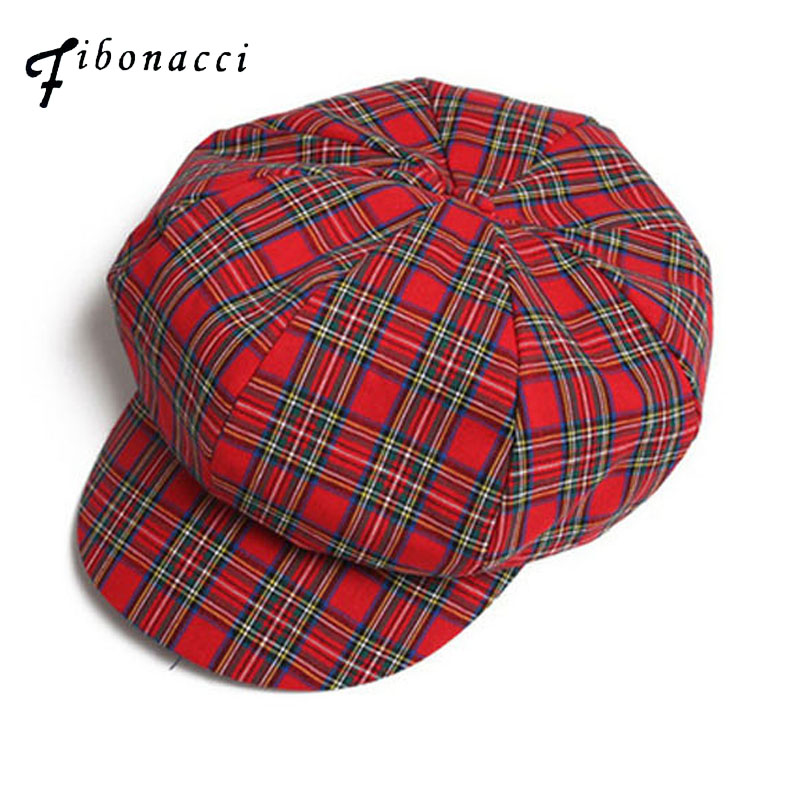 Fibonacci High Quality Berets Retro Plaid Women Pure Cotton 8 Panel Hat Ladies Fashion Classic Flat Newsboy Caps