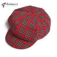 Boinas Fibonacci de alta calidad Retro a cuadros mujeres puro algodón 8  Panel sombrero señoras moda 16222d4855d
