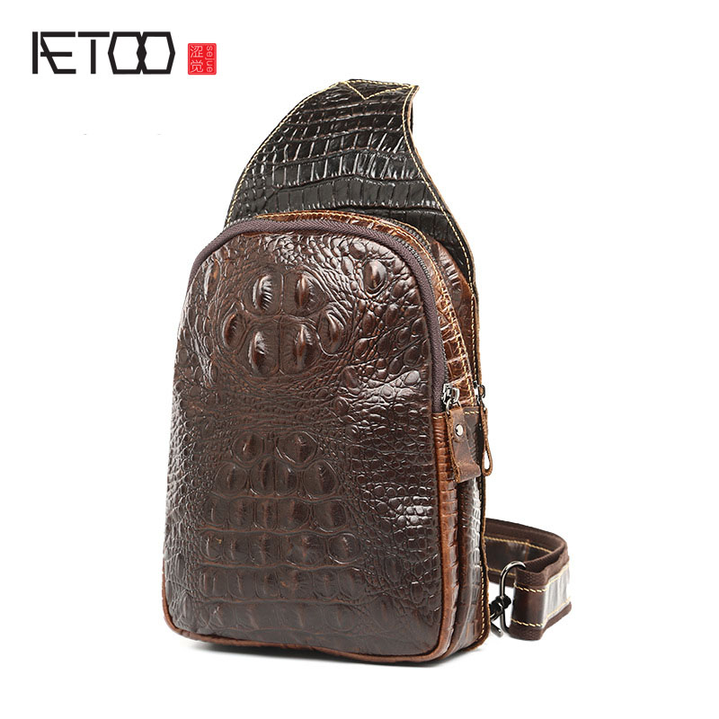 AETOO Spring and summer new men casual fashion leather crocodile pattern chest bag tide men bag free shipping new spring and summer fashion men s denim jeans slim wear white pantyhose feet