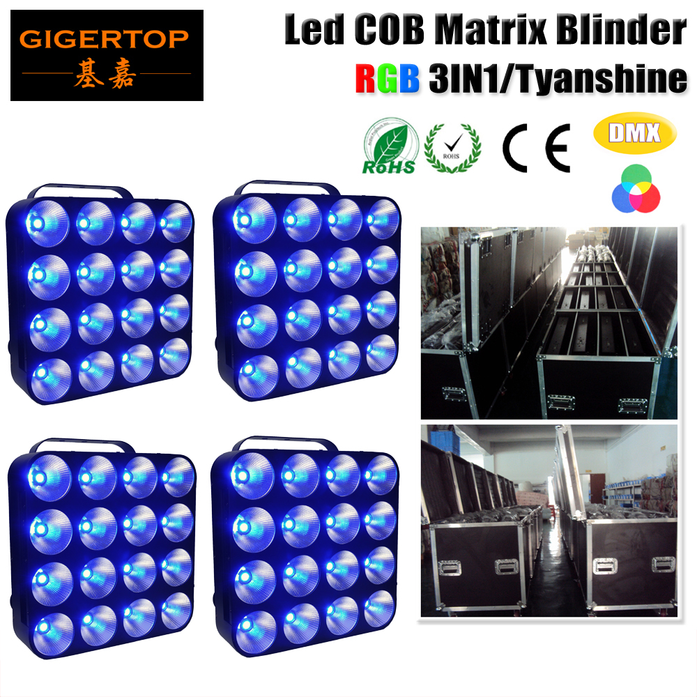 Free Shipping Flightcase 4in1 Packing 4XLOT LED Matrix 16X30W COB BLINDER DMX 512 Control 6/24/48/96 Channel 3IN1 Color 90V-240V blinder m45 x treme