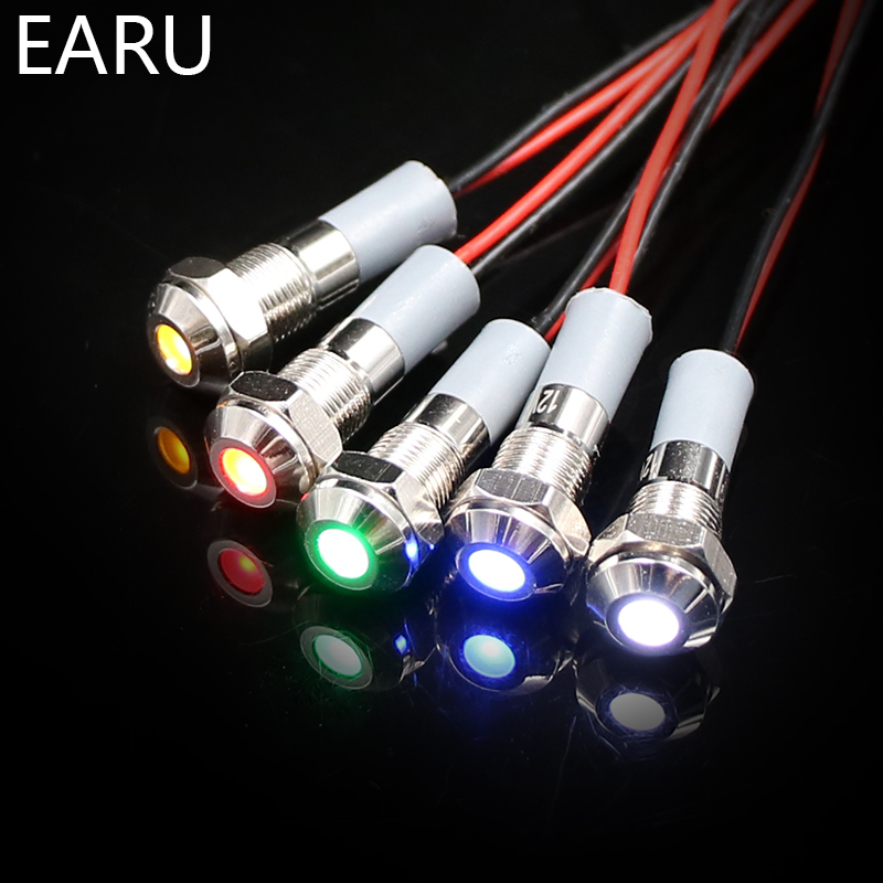 6mm IP67 Waterproof LED Metal Warning Indicator Light Pilot Signal Lamp + Wire 3V 5V 6V 12V 24V 110V 220v Red Yellow Blue Green