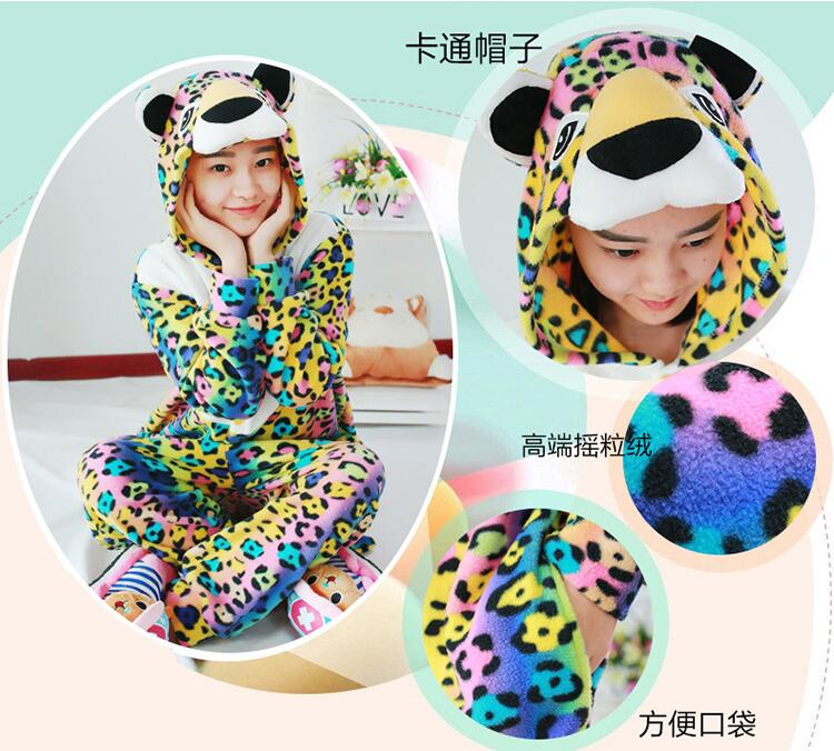New Style Winter Adults Animal Spotted Leopard Christmas Footed Pajamas Onesie Cosplay Costumes Pyjamas For Party