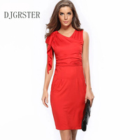 DJGRSTER 2017 New spring Style Bodycon Dresses Vintage Ladies Sexy Fitness Solid color Sleeveless V-Neck women Dress