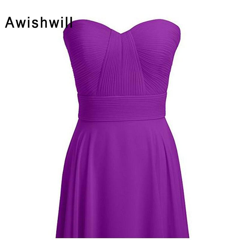Nouveauté robe de demoiselle d'honneur chérie ruché une ligne robes de demoiselle d'honneur en mousseline de soie élégant vert menthe violet bleu 2019 - 3