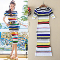 2017 new brand designer color stripe knitting mid calf o neck european and american style woven short sleeve dresses runway slim