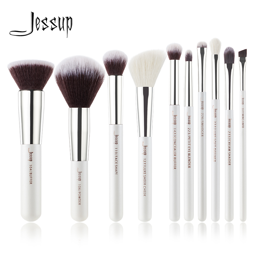 Jessup Brand Pearl White/Silver Professional Makeup Brushes Set Make up Brush Tools kit Foundation Powder Buffer Cheek Shader jessup brand 25pcs beauty bamboo professional makeup brushes set make up brush tools kit foundation powder blushes eye shader