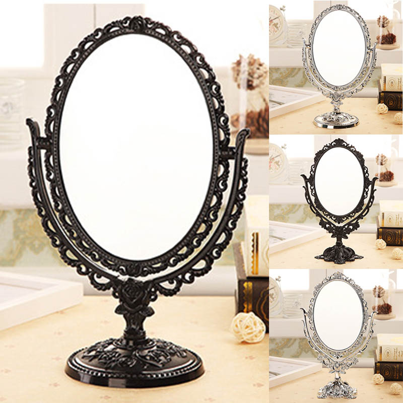 Vintage Makeup Mirror Desktop Rotatable Mirror with Butterfly Rose Vines Decor Tool For Makeup Tool HB88