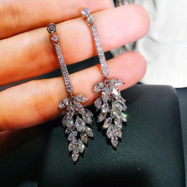 Dễ thương Nữ Pha Lê Leaf Dangle Earrings 925 Sterling Silver Bạc Trắng Zircon Bông Tai Boho Trang Sức Cưới Bông Tai Thả Dài