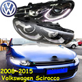 car-styling!Scirocco headlight,2008~2016,Free ship!chrome,Scirocco fog light,chrome,LED,2ps+2pcs Aozoom Ballast,Phaeton,Scirocco