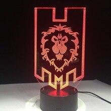 העולם של Warcraft 3D LED מנורת את ברית שבטי סימנים מרחוק מגע בקרת לילה אור USB מנורת שולחן דקורטיבית חבר של מתנה