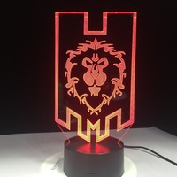 World of Warcraft 3D светодио дный светодиодные лампы Альянс кольца с этническими мотивами дистанционное управление Touch ночник USB декоративные наст...