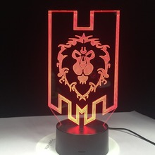 World of Warcraft 3D LED Lamp The Alliance Tribal Signs Remote Touch Control Night Light USB Decorative Table Lamp Friends Gift