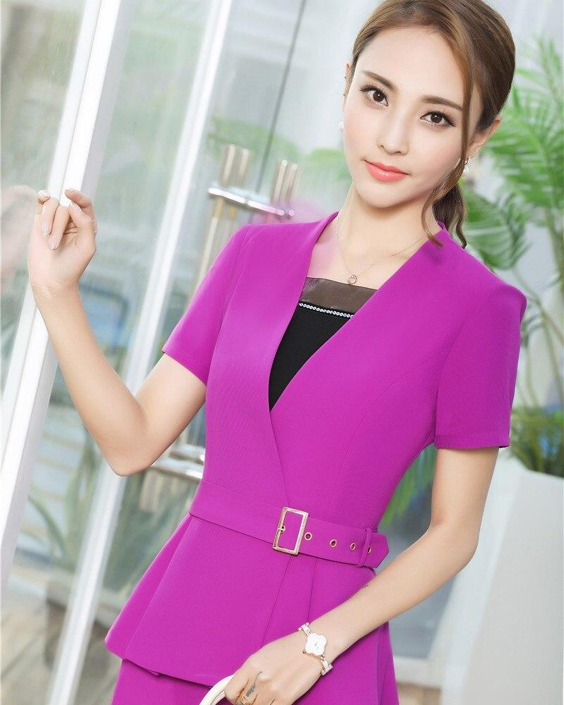 Neuheit Grau Sommer Kurzarm Formale Blazer Mantel Business Frauen Jacken  Damen Outwear Professional Tops Blazer Plus Größe in Neuheit Grau Sommer  Kurzarm ... c89cd3b740