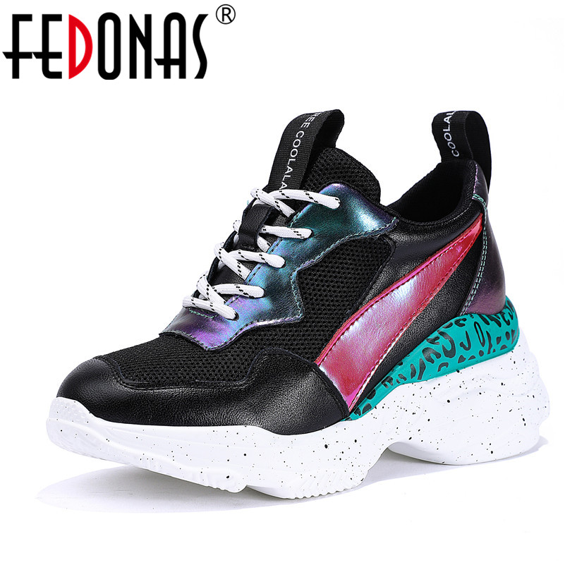 Sport Fedonas Femme blanc Corss Noir De attaché Véritable Femmes Printemps Cuir Été Platfroms Chaussures Nouveau Décontractées En 2019 Sneakers Appartements qA4Rc35jL