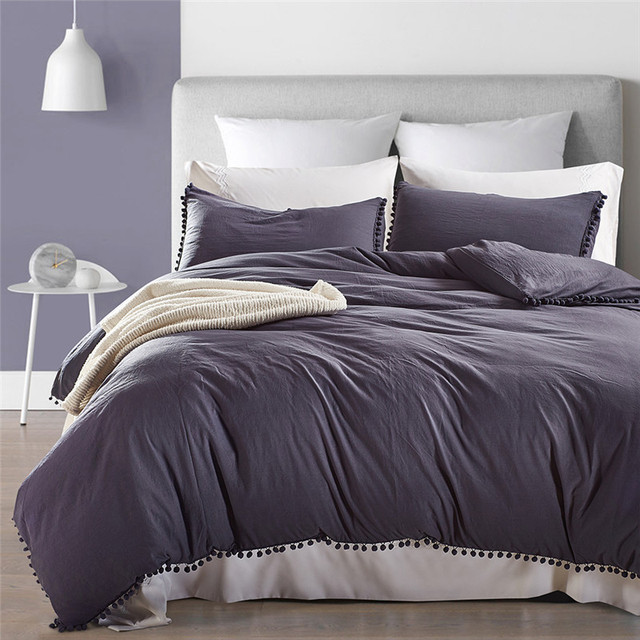 Letto Americano King Size.Solido Grigio Duvet Cover Set King Size Plaid Lenzuola Stile