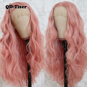 Image 5 - QD Tizer Long Pink Hair Loose Wave Hair  Lace Wigs Free Part Glueless Synthetic Lace Front Wigs for Fashion Women