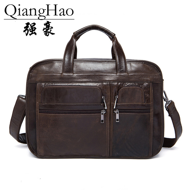 14 Inch 100 Men Genuine Leather Briefcase Vintage Laptop Briefcases Black Split Computer Bag