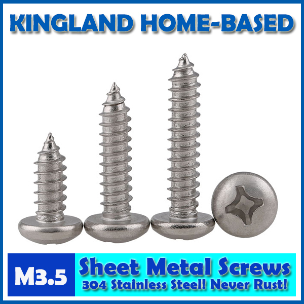 GB845 M3.5 Cross Recessed Pan Head Phillips Self-tapping Sheet Metal Screws For DIY 304 Stainless Steel Fastener LD019