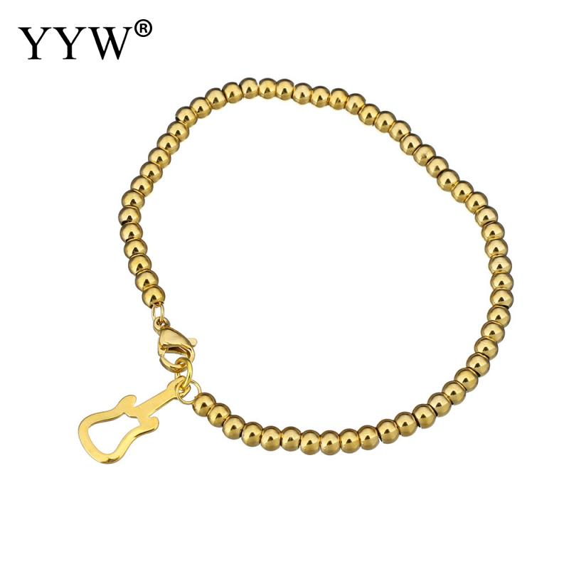 2017 bracelet for woman bracelets & bangles Stainless Steel Jewelry Bracelet Guitar gold color plated Womens Friendship Chain