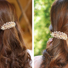 Beauty Women Hair Clip Leaf Crystal Rhinestone Barrette Hairpin Headband Accessory 5 colors