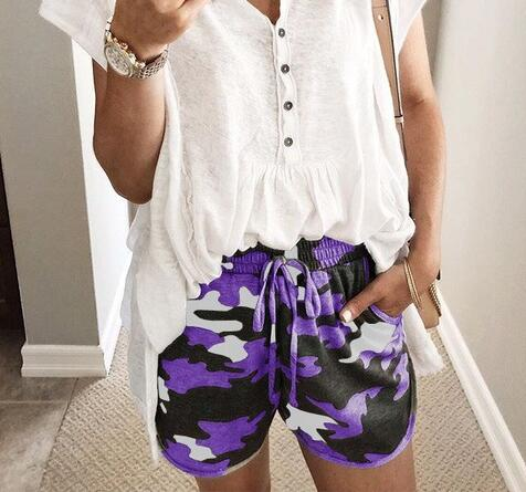 Women   Short   Summer Hot Sale Beach Fashion Elastic Camouflage Drawstring   Shorts   Trousers Lady High Waist Casual   Short   For Female