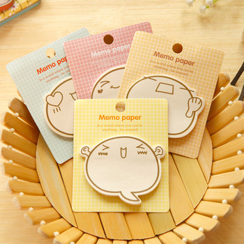 4pcs kawaii cute plan post-it notes inspirational cartoon expression self-adhesive notes notepad sheet image
