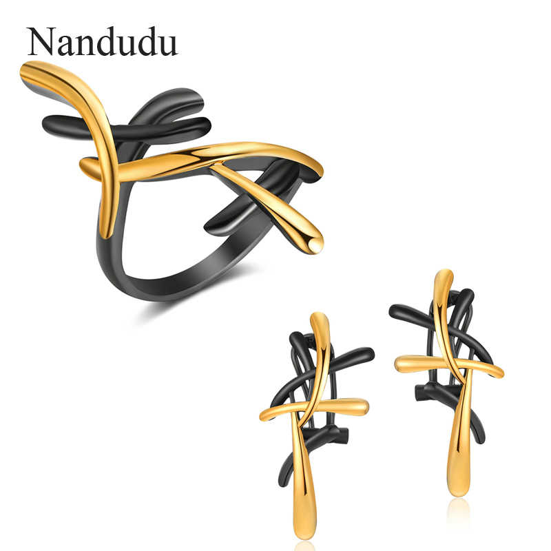 Nandudu Gun Color Metallic Earrings Ring Statement Cross Jewelry Set for Women Punk Style Female Party Jewelry Sets CE341 R1915