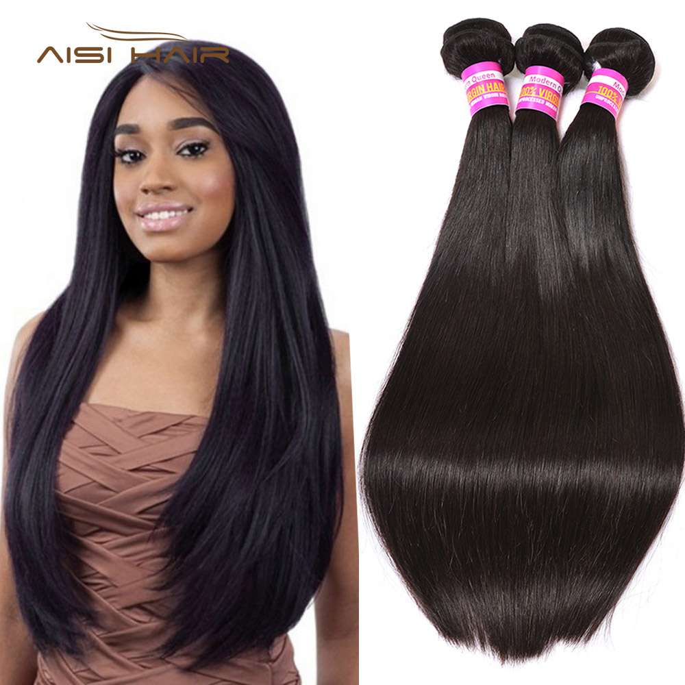 AISI HAIR Malaysian Straight Remy Hair 100% Human Hair Bundles 3 Bundles Remy Hair Extensions Natural Color Full Thick Bundles
