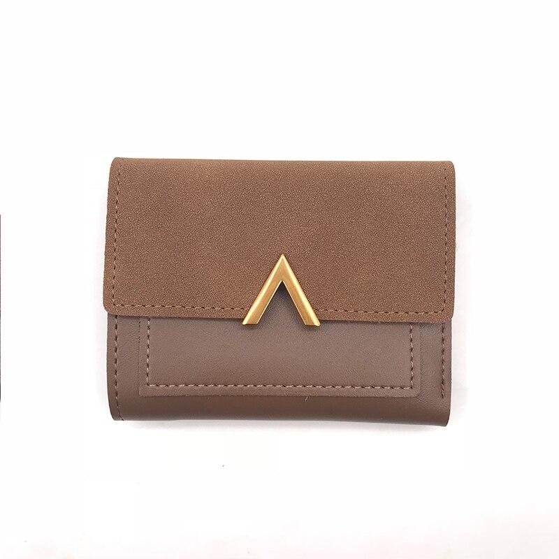 Маленький женский кошелек из матовой кожи, роскошный бренд, известные мини женские кошельки и кошельки, короткий женский кошелек для монет, кредитный держатель для карт - Цвет: Coffee