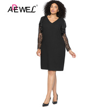 ADEWEL Sexy Black Plus size Lace Shift Dresses Women Elegant Spring V-neck Ruched Long Sleeve Party Short 5XL