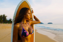 Home decoration girl beach boobs sand summer sexy model water serf poster  TS39