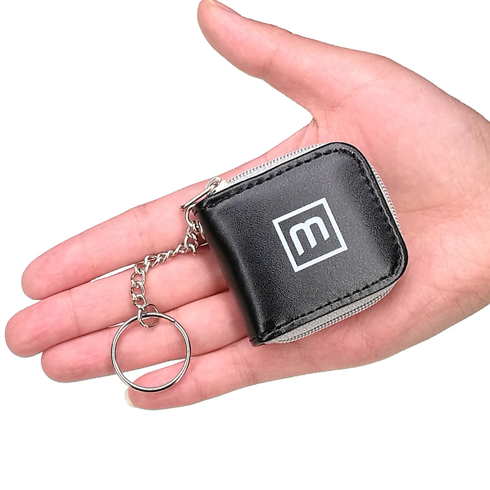 Cute Black 6 Slots Mini Memory Card Case Storage Carrying Pouch Micro SD Nano SIM Holder Small Wallet with key chain Portable ...