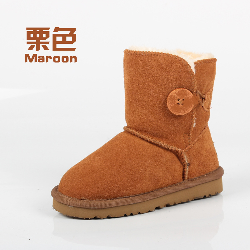 high quality 2017 Winter Children Snow Boots For Girls Boys UG Boots Genuine Leather Shoes Kids Plush Boots With Fur Warm Boots babyfeet 2017 winter fashion warm plush high top genuine cow leather children ankle girls snow boots kids boys shoes sneakers