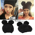 Adult lady winter warm black crochet knitted double pom pom cat ear beanie hats cap for women