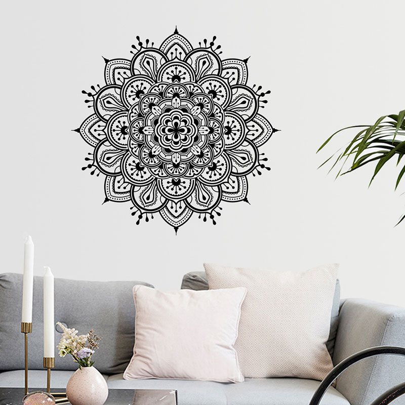 Aliexpress Buy Buddhism India Mandala Wall Stickers For Living Room Namaste Removable Creative Waterproof Wallpaper Mural Home Decoration From
