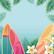 Laeacco Tropical Surfboard Summer Palm Tree Leaf Flower Pattern Child Photographic Backgrounds Photography Backdrop Photo Studio
