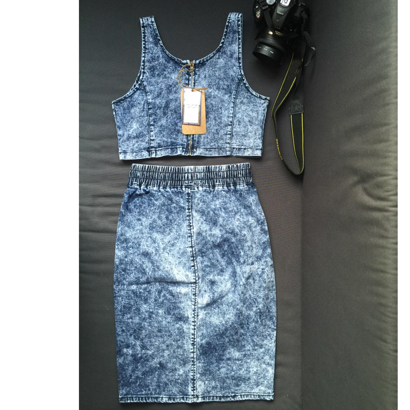 f35bd49d16 Sexy Club 2016 Denim Dresses For Women Two Piece Club Women Dress 2 Piece  Outfit Bodycon Dresses-in Dresses from Women s Clothing on Aliexpress.com  ...